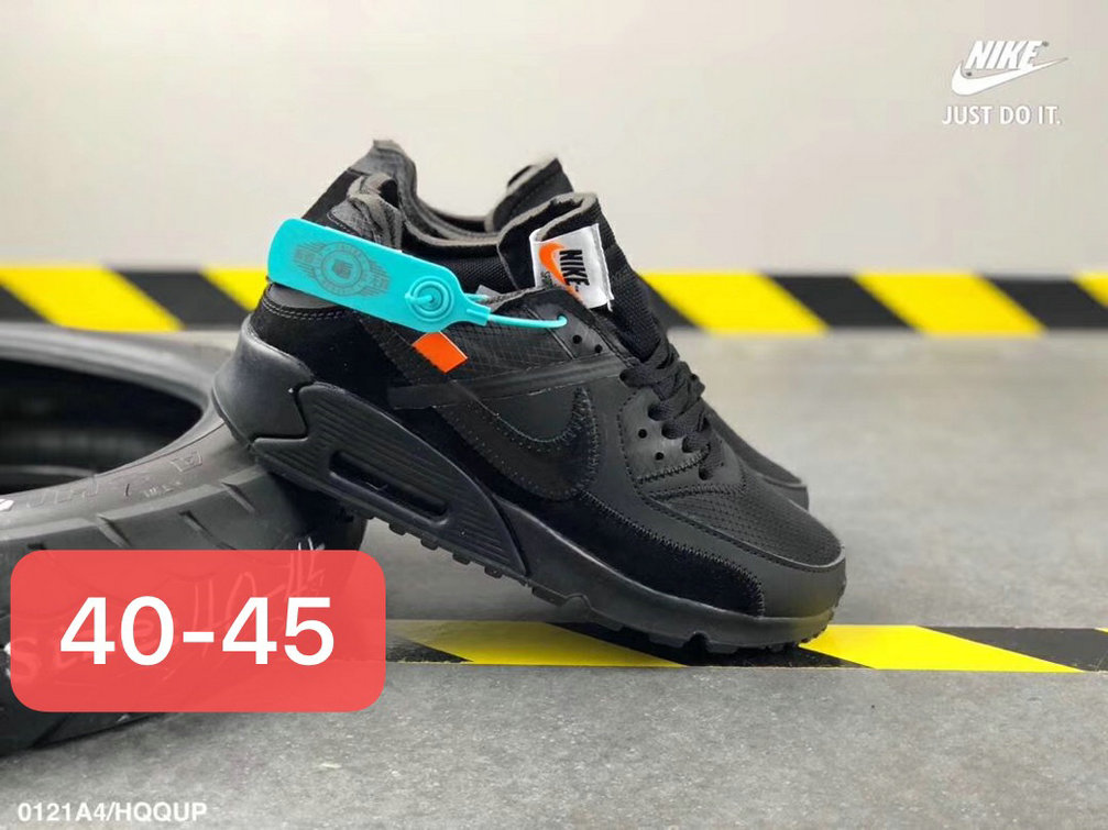 Off White X Boys Nike Air Max 90 Unisex Running Shoes Black All