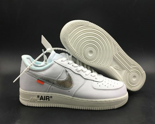 Cheap Off-White x Air Force 1 07 Off-White AF1 White-Metallic Silver-Sail For Sale