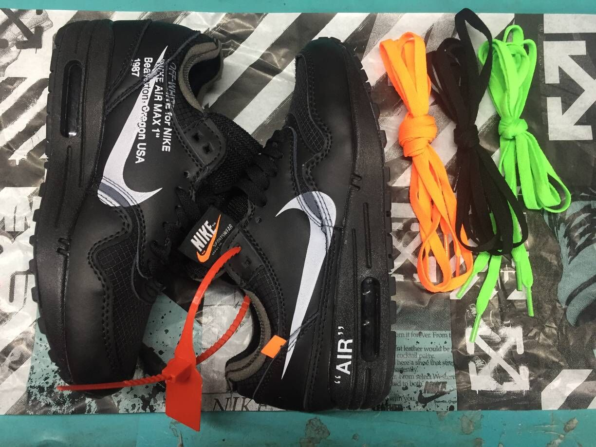 Off-White x Boys Nike Air Max 87 1 All Black White