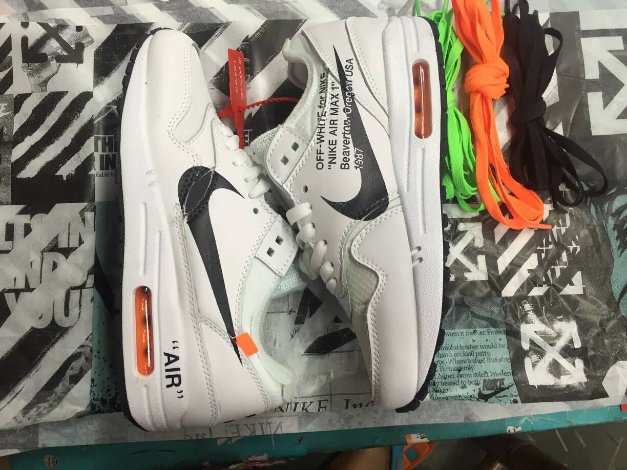 Off-White x Boys Nike Air Max 87 1 White Black Team Orange