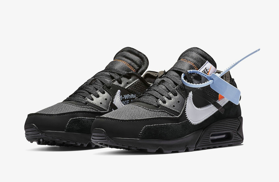 Off-White x Boys Nike Air Max 90 Black-Cone-White-Black AA7293-001