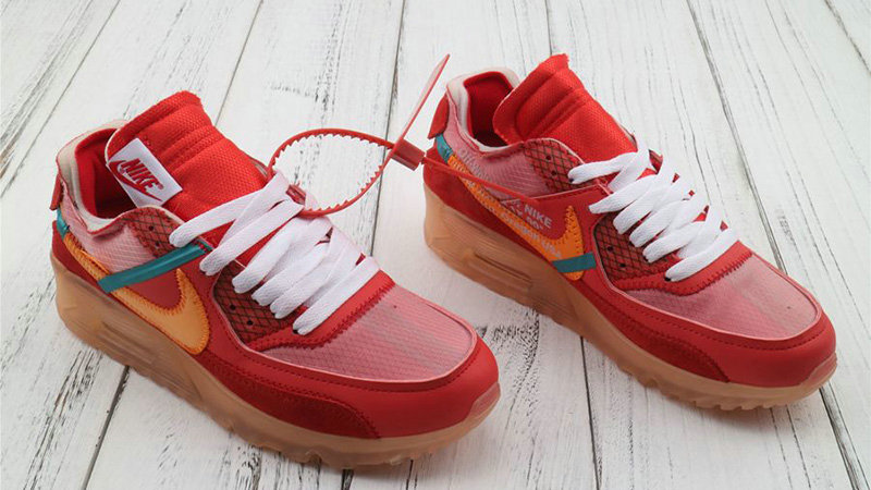 Off-White x Boys Nike Air Max 90 University Red Team Orange-Hyper Jade-Bright Mango AA7293-600