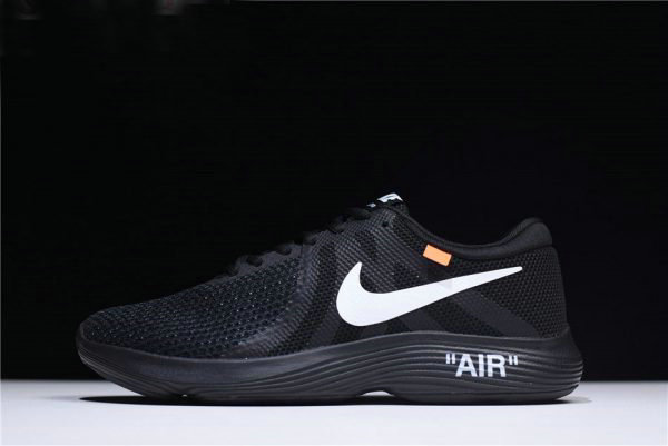 Cheap Off-White x Nike Revolution 4 Black WMNS Size Running Shoes 908988-011