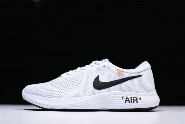 Cheap Off-White x Nike Revolution 4 White Running Shoes WMNS Size 908988-012 For Sale