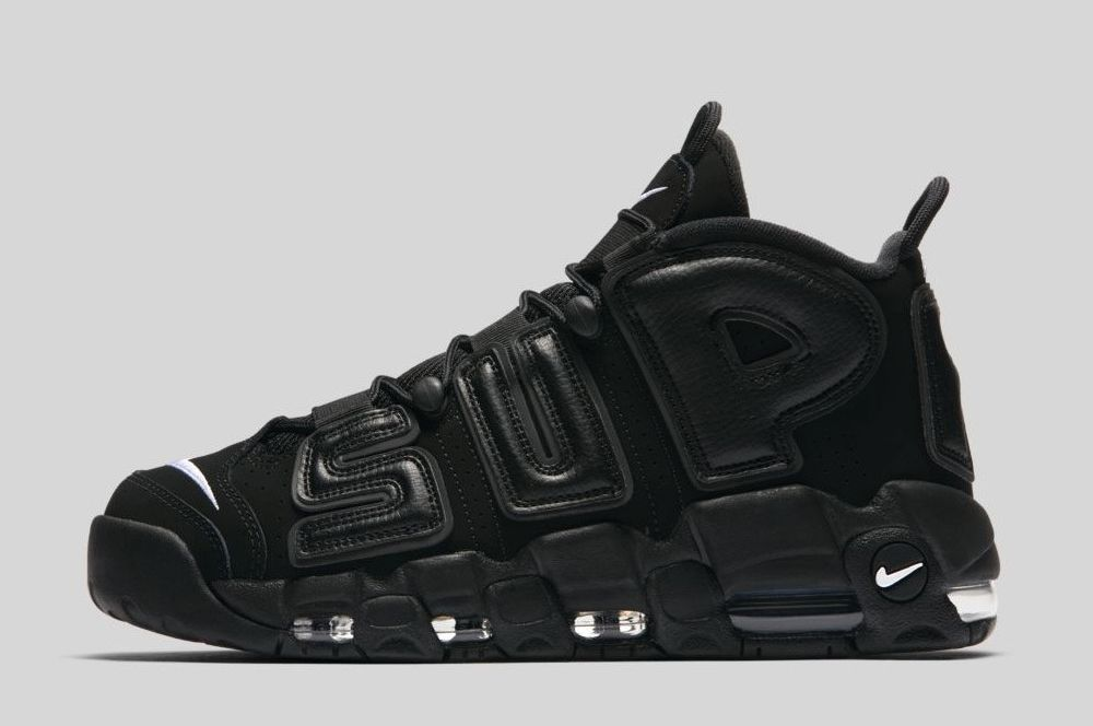 Supreme x Nike Air More Uptempo Black White 2017 For Sale