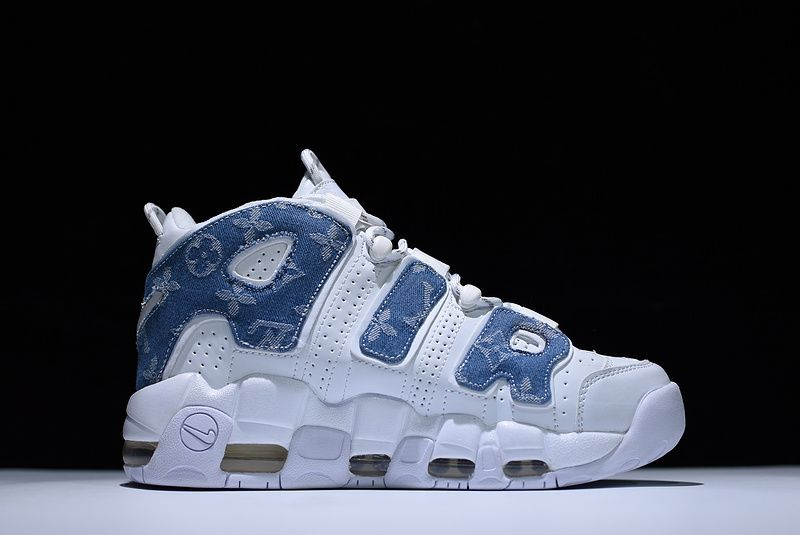 Supreme x Nike Air More Uptempo Denim White Blue For Sale