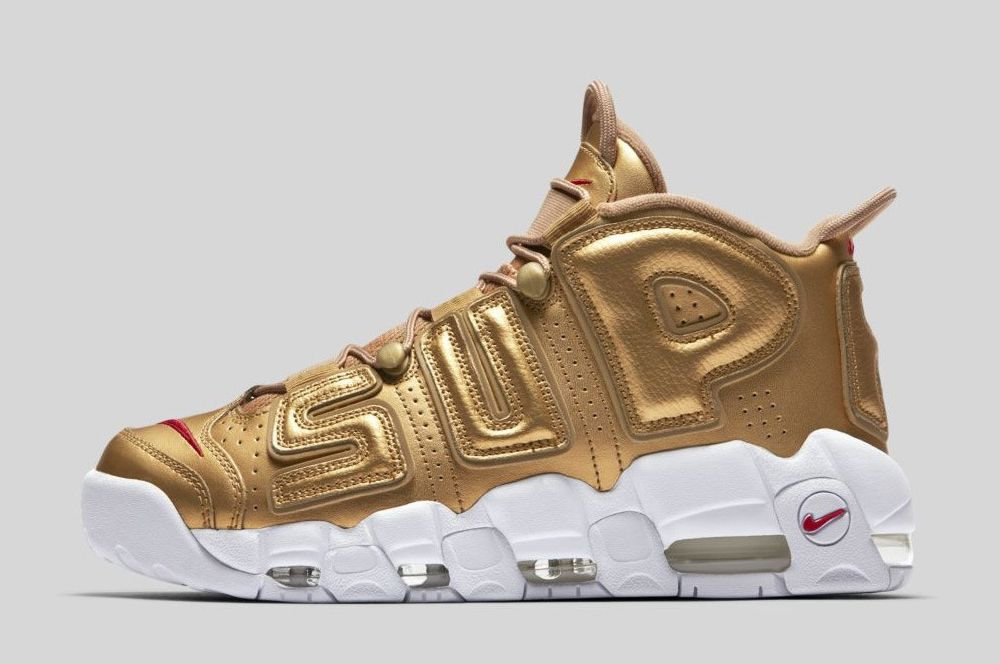 Supreme x Nike Air More Uptempo Metallic Gold White 2017 For Sale