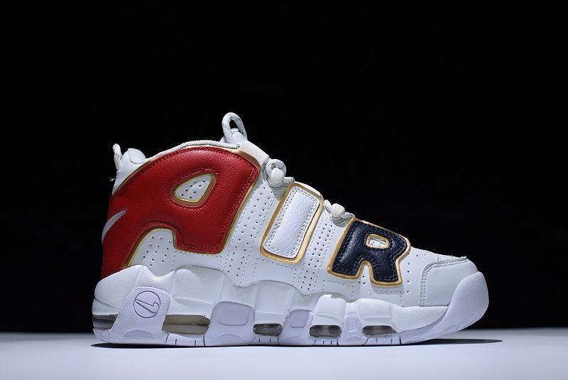 Supreme x Nike Air More Uptempo White Black Red Gold For Sale