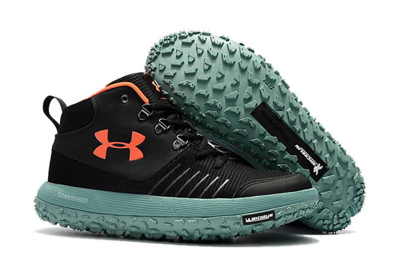 Under Armour UA Fat Tire GTX Black Orange Green Trail Running Shoes For Sale