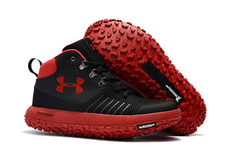 Under Armour UA Fat Tire GTX Black Red Trail Running Shoes For Sale