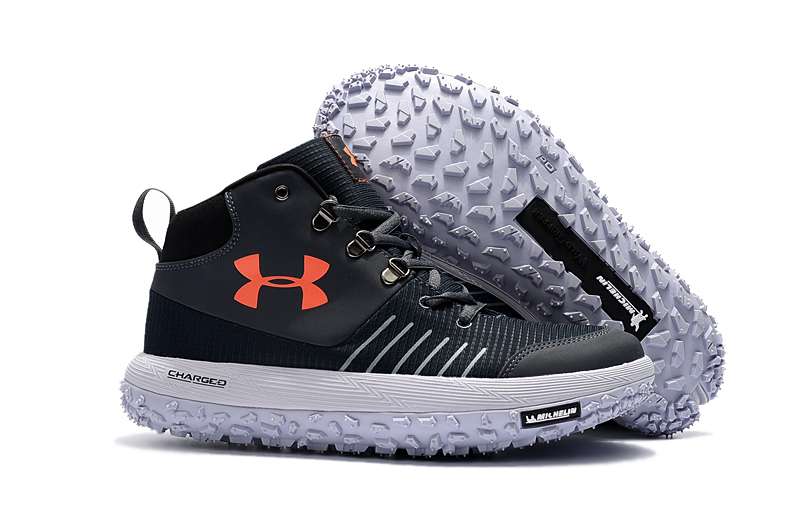 Under Armour UA Fat Tire GTX Black White Orange Trail Running Shoes For Sale