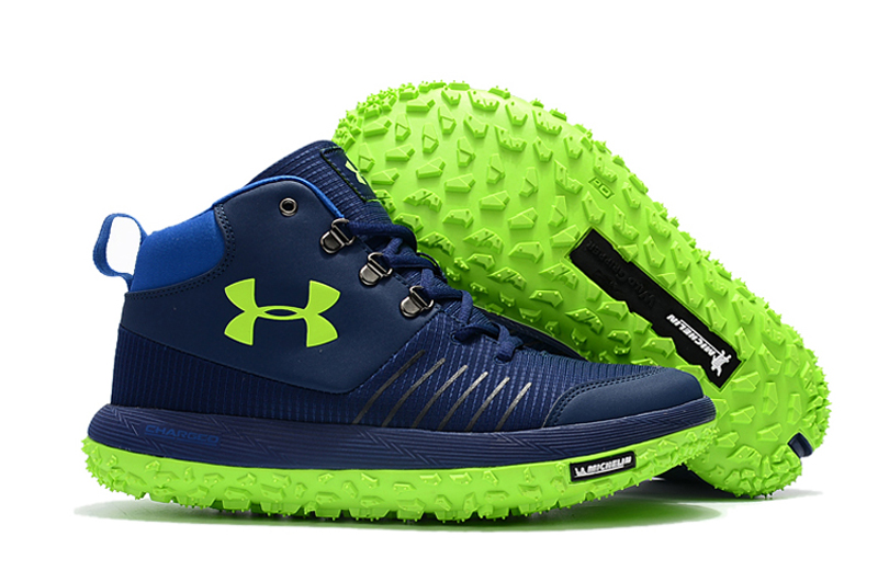 Under Armour UA Fat Tire GTX Navy Blue Green Trail Running Shoes For Sale