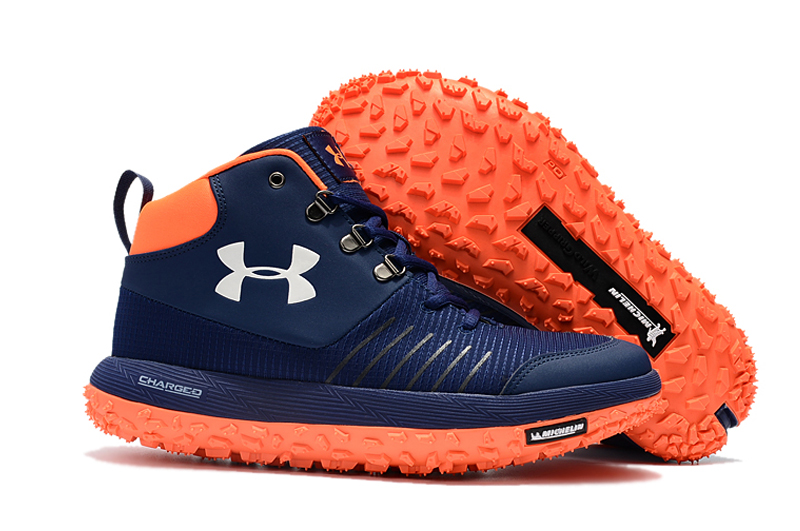 Under Armour UA Fat Tire GTX Navy Blue Orange Trail Running Shoes For Sale
