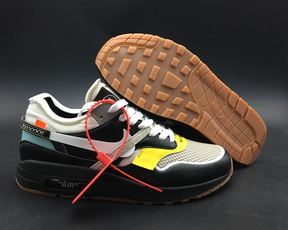 Virgil Abloh x BespokeIND Create Off-White X Boys Nike Air Max 1s Black Leather