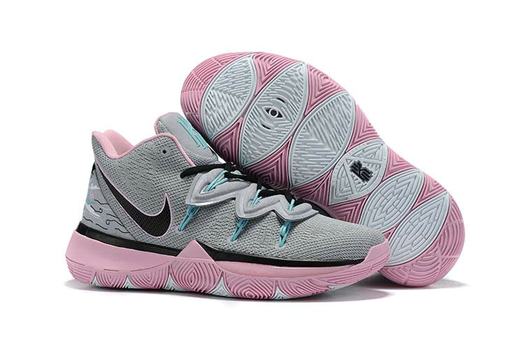 Where To Buy 2019 Kids Cheap Nike Kyrie 5 Wolf Grey Pink-Black