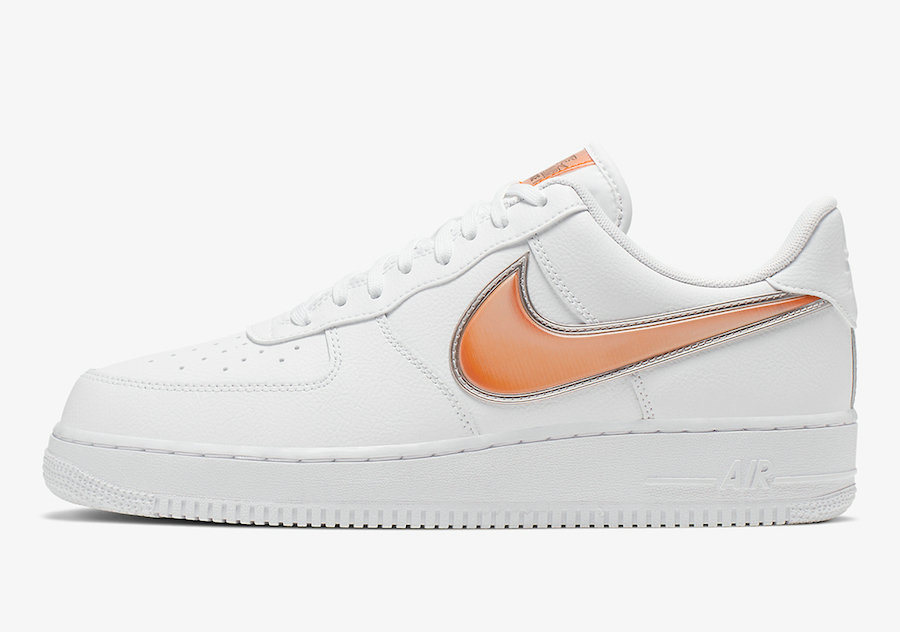 Where To Buy 2019 Womens Cheap Nike Air Force 1 Low Oversized Swoosh White Orange Peel AO2441-102