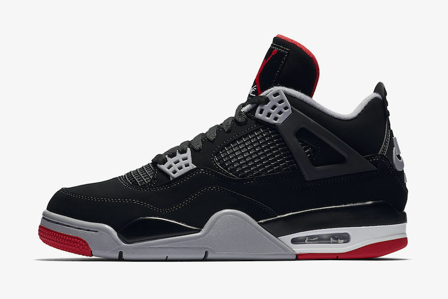 Where To Buy 2019 Womens Cheap Nike Air Jordan 4 Bred Black Cement Grey-Summit White-Fire Red 308497-060