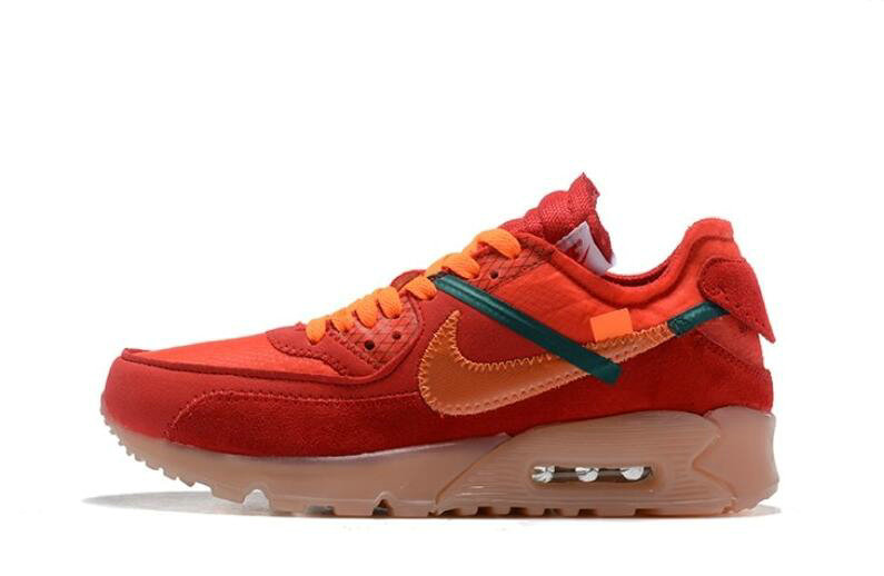 Where To Buy 2019 Womens Cheap Off White X Nike Air Max 90 Red Orange OW AA7293-600