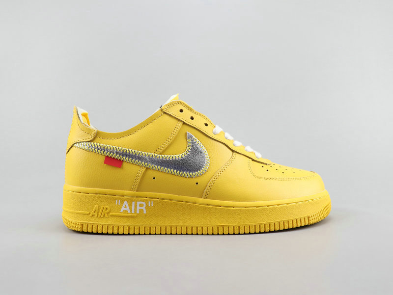 Where To Buy 2019 Womens Cheap Off White x Nike Air Force 1 07 Virgil Yellow Gray White