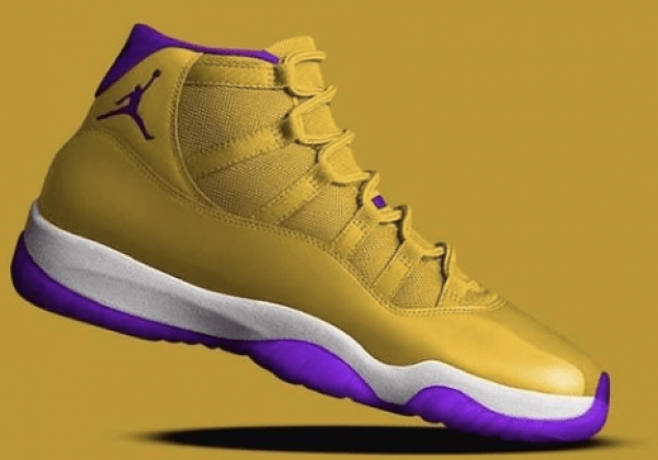 Where To Buy 2020 Cheap Nike Air Jordan 11 Kobe Lakers Yellow Purple-White
