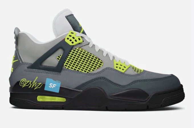 Where To Buy Cheap Nike Air Jordan 4 Neon Inspired Cool Grey Volt-Wolf Grey-Anthracite