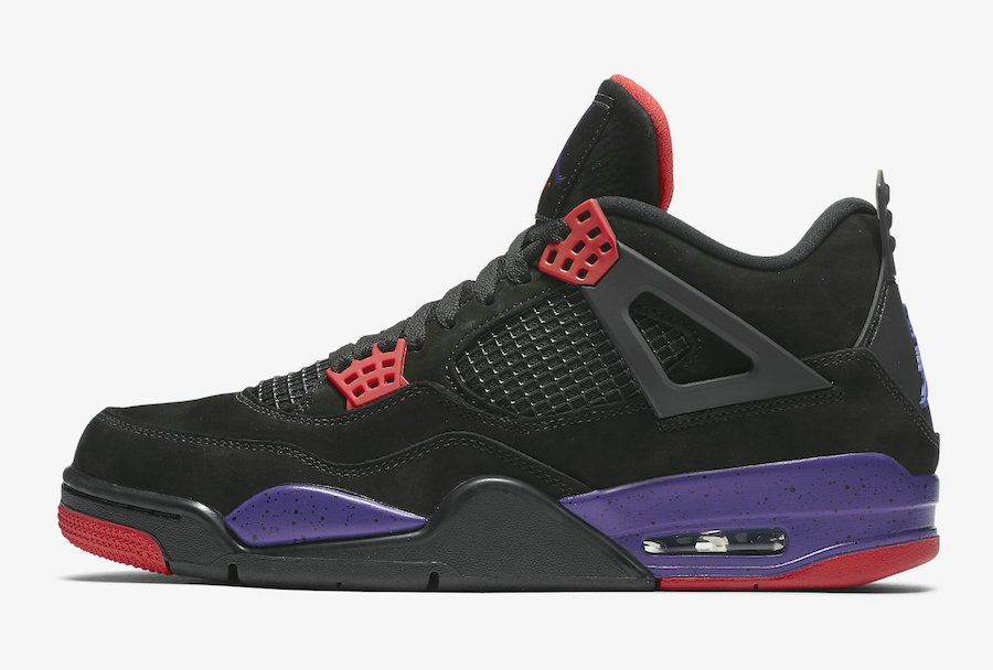 Where To Buy Cheap Nike Air Jordan 4 Raptors Black University Red-Court Purple AQ3816-065
