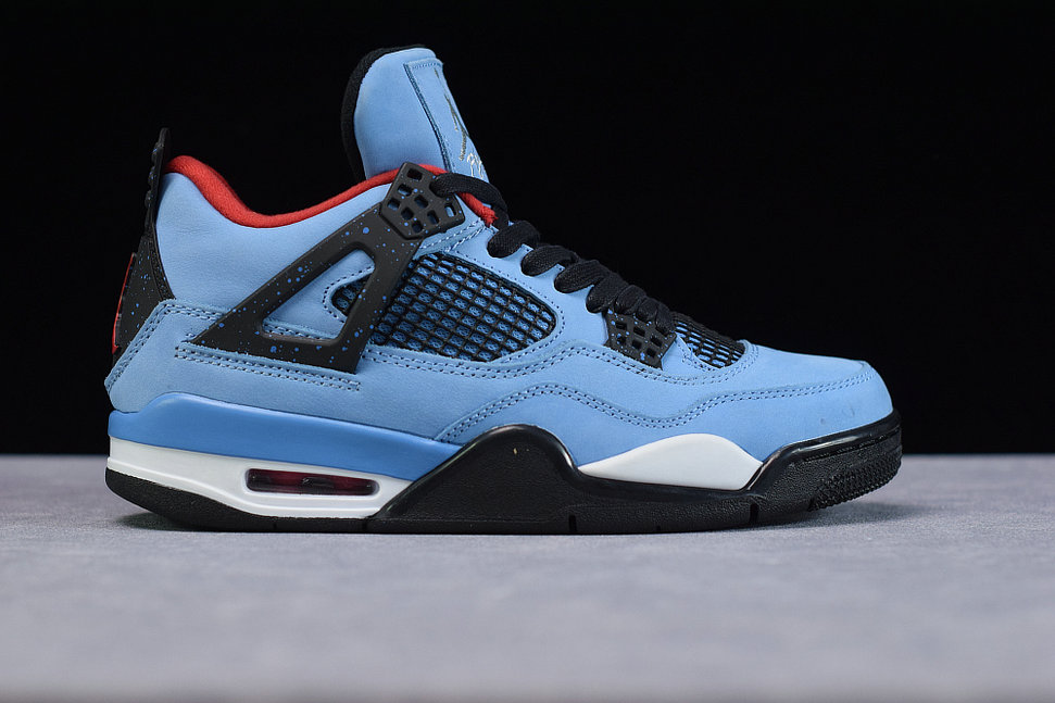 Where To Buy Cheap Nike Air Jordan 4 Retro Travis Scott Cactus Jack TS University Blue Black Bleu Carolina Noir 308497-406