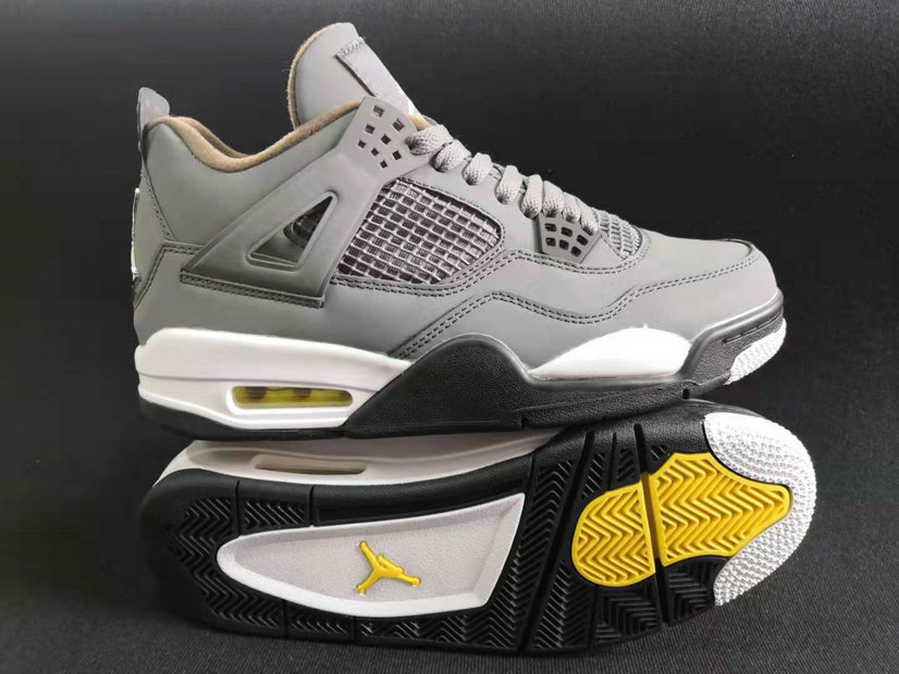 Where To Buy Cheap Nike Air Jordans 4 Wolf Grey Black Metallic Gold Yellow White