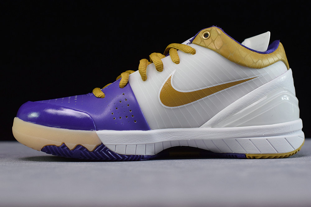 Where To Buy Cheap Nike Kobe 4 White Metallic Gold Vrsty Prpl 344335 171