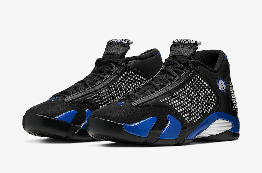 Where To Buy Cheap Supreme x Nike Air Jordan 14 Black Varsity Royal-Chrome BV7630-004