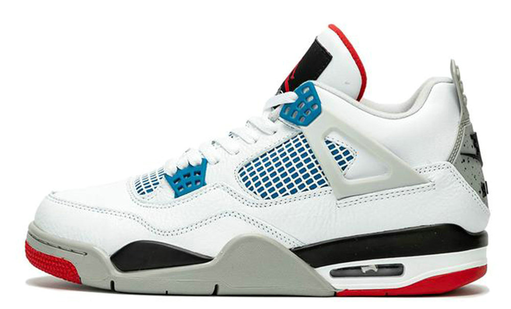 Where To Buy Womens 2020 Cheap Nike Air Jordan 4 What The 4 White Military Blue-Fire Red-Black CI1184-146