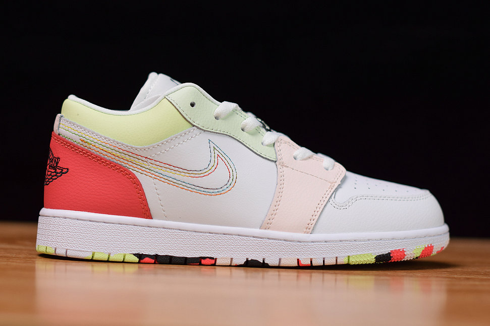 Where To Buy Womens Nike Air Jordan 1 Low GS White Ember Glow-Barely Volt-Black 554723-176