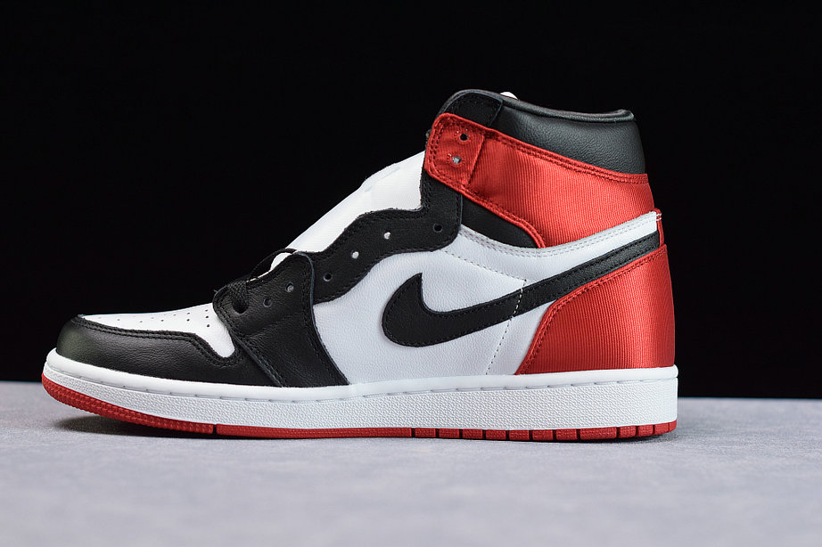 Where To Buy Womens Nike Air Jordans 1 Satin Black Toe Black White Varsity Red Noir Blanc Rouge CD0461-016