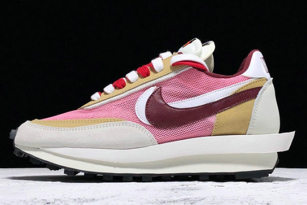 Where To Buy Womens Sacai x Nike LVD Waffle Daybreak Swoosh Pink Gery White Red BV0073-500