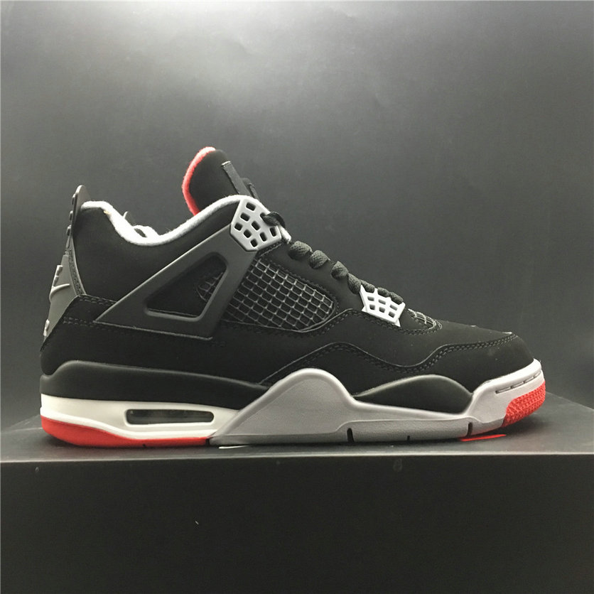 Womens 2019 Cheap Nike Air Jordan 4 Retro Bred Black-Cement Grey-Fire Red 308497