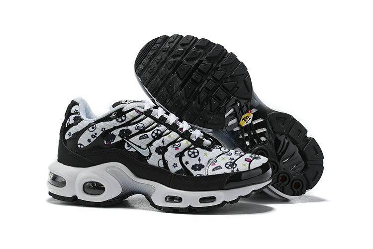 Womens 2019 Cheap Nike Air Max Plus Print White Black
