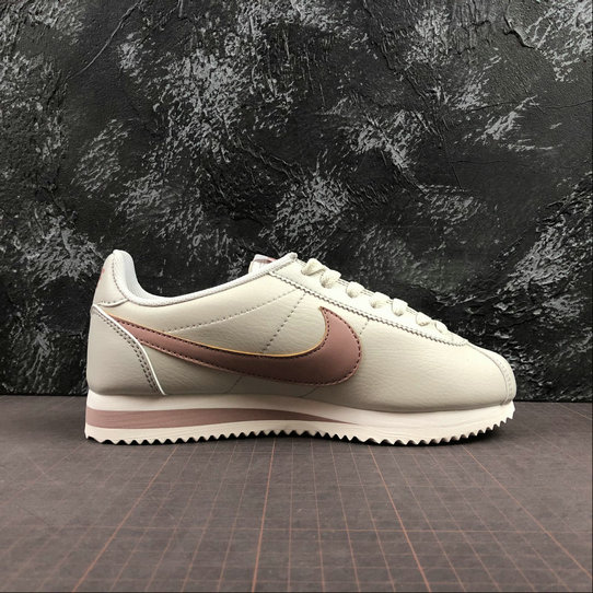 Womens 2019 Cheap Nike Classic Cortez Leather Light Bone Particle Pink 807471-013