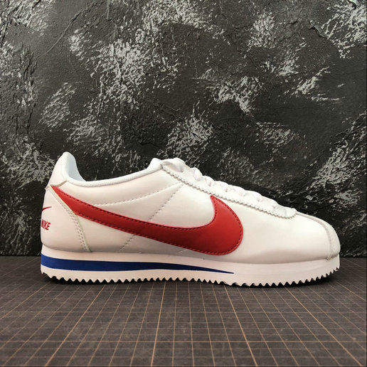 Womens 2019 Cheap Nike Classic Cortez Premium White Varsity Red-Varsity Royal 807480-600
