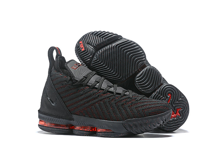 Womens 2019 Cheap Nike LeBron 16 Fresh Bred Black University Red AO2588-002