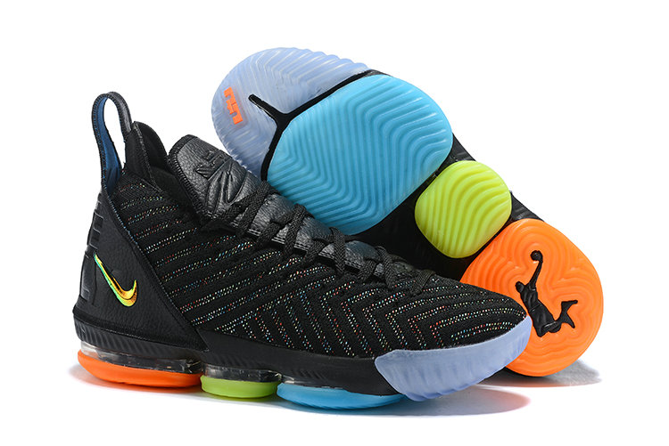 Womens 2019 Cheap Nike LeBron 16 I Promise Black Multi-Color AO2595-004