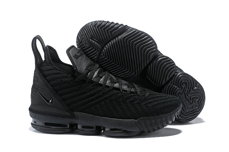 Womens 2019 Cheap Nike LeBron 16 Triple Black