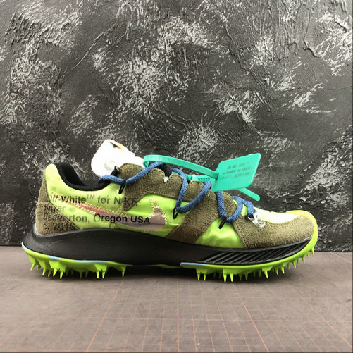 Womens 2019 Cheap Off-White x Nike Zoom Terra Kiger 5 Electric Green Metallic Silver Vert Electrique CD8179-100