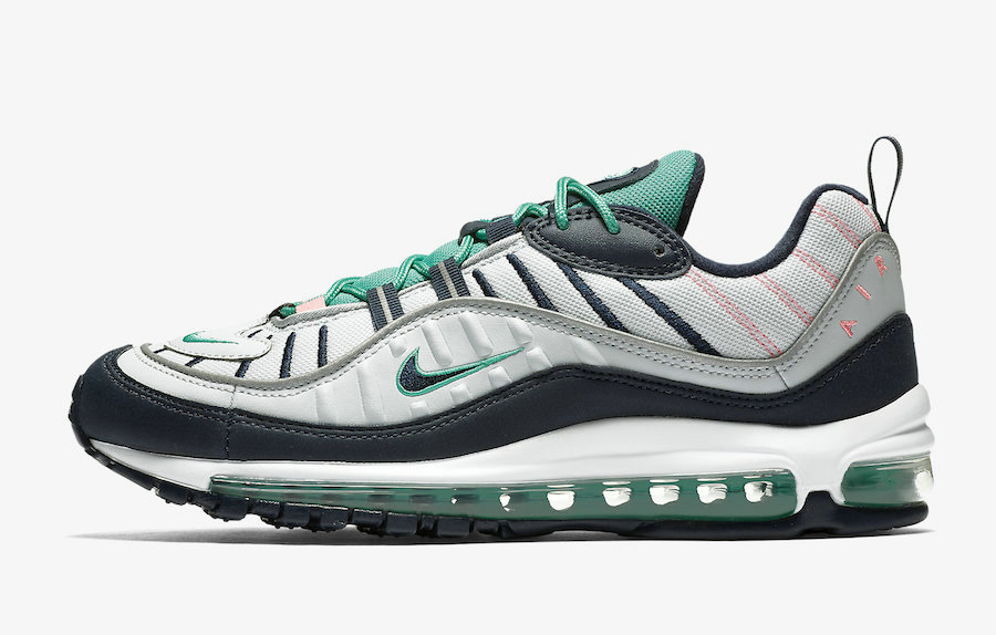 Womens Nikes Air Max 98 South Beach 640744-005 Pure Platinum Obsidian-Kinetic Green