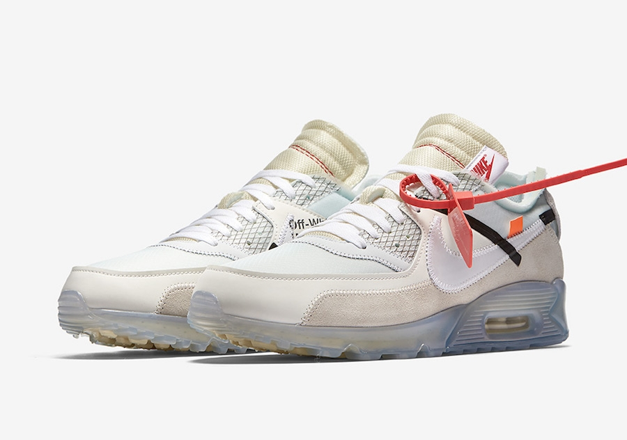 Womens OFF-WHITE x Nike Air Max 90 Sail White-MuslinAA7293-100