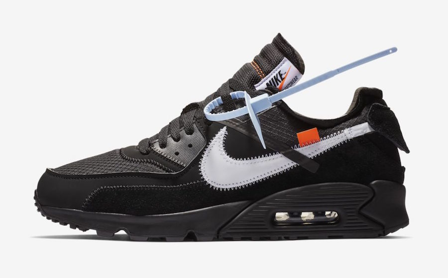Womens Off-White x Nike Air Max 90 Black-Cone-White-Black AA7293-001