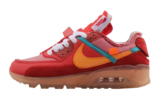 Womens Off-White x Nike Air Max 90 University Red Team Orange-Hyper Jade-Bright Mango AA7293-600