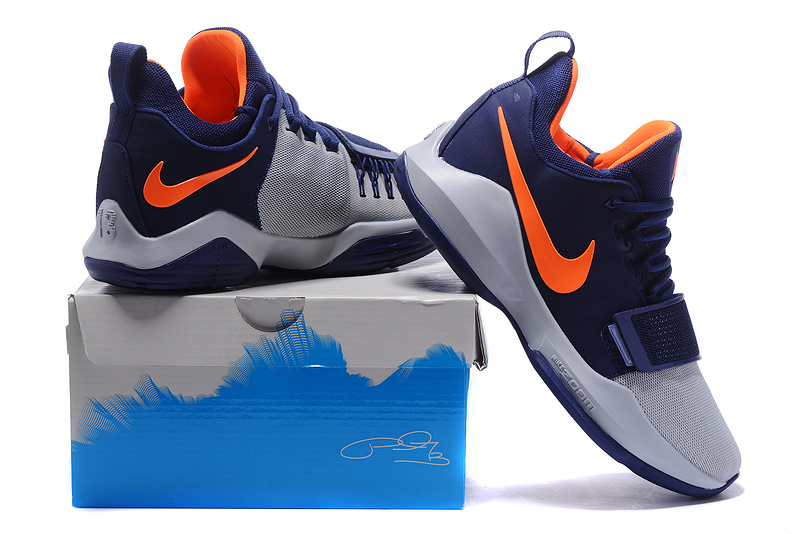 2017 Nike Zoom PG 1 Navy Blue Wolf Grey Orange For Sale