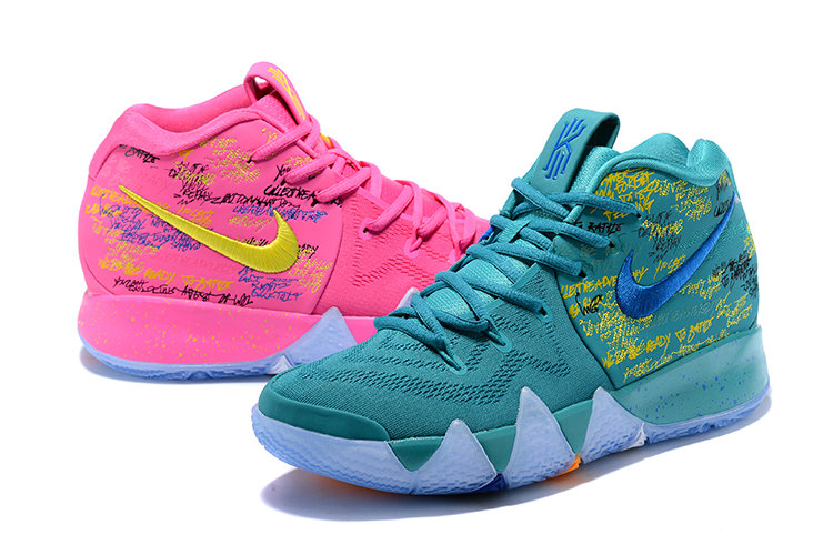 2018 Nike Kyrie Shoes x Cheap Womens Kyrie 4 What The Pink Teal Christmas