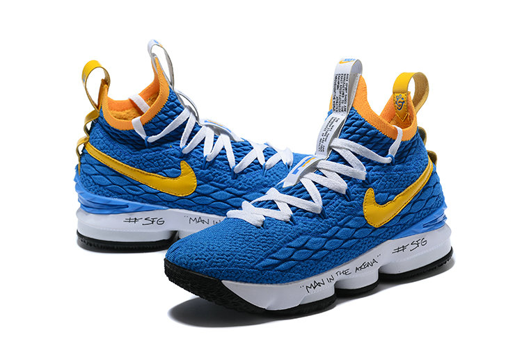 2018 Nike Lebron Shoes x Cheap Nike LeBron 15 Waffle Yellow Blue White Black