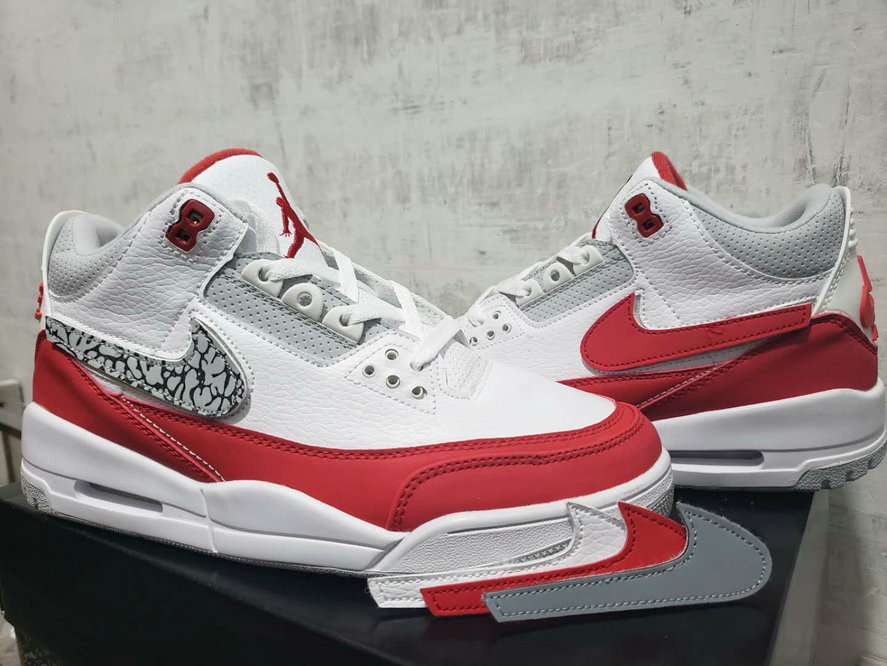 2019 Cheap Nike Air Jordan 3 University Red White Grey Blanc Noir